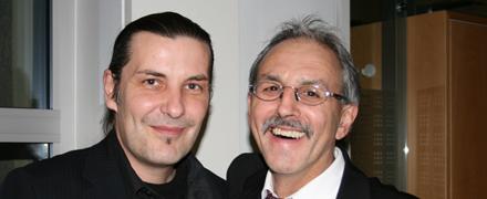 Arno Köster (li.), Öffentlichkeitsarbeit und Fundraising Udo Lindenberg Stiftung mit Erwin Geisler, Bereichsdirektor Marktsteuerung, Sparkasse Pforzheim Calw